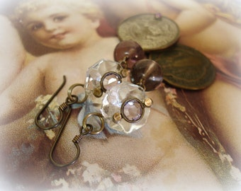estados unidos one of a kind vintage assemblage earrings . slightly asymmetrical mexican coin and holy medal with vintage chandie crystals