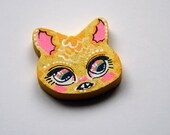 Yellow Cat Head Charm Necklace or Pin