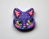 Purple Cat Head Charm Necklace or Pin