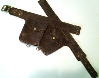 Solid Brown Bomber Leather Unisex Steampunk Double Hip Bag Holster Utility Belt w Brass Hardware made to order by Darkwear Clothing