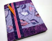 Refillable Fabric Covered Composition Notebook Cover w/ Zipper Pocket, Floating Purple Leaves
