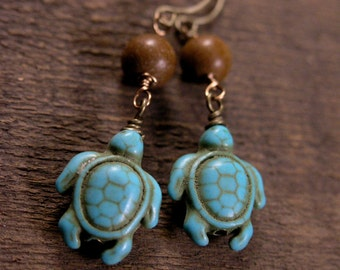 Turquoise stone turtles, petrified wood beads and antique brass handmade earrings