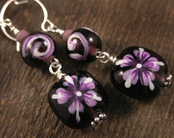 Hand painted purple flower earrings, purple, pink and white flowers handmade silver earrings