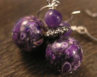 Purple conglomerate stones, genuine amethyst gemstone and silver handmade earrings