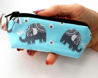 Mini Key Chain Zipper Pouch ECO Friendly Padded Lip Balm Case Elephant on Aqua