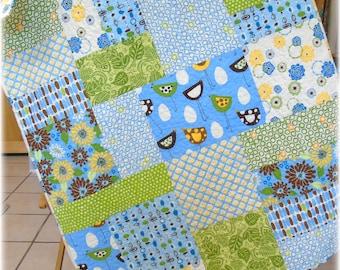 Modern Baby Quilt Nursery Bedding Crib Bedding Girl, funky birds, whimsy flowers, blue green