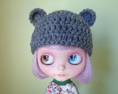 CHARCOAL GRAY teddy ears. smaller ears version