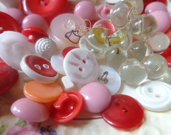 sweetheart colors. pink, red and white vintage buttons