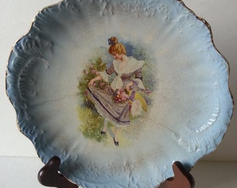 Beautiful antique Victorian hand painted china platter by Pope Gosser, blue and white with scene, very old and unique