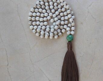 Knotted Mala Necklace- Magnesite- Mosaic Turquoise