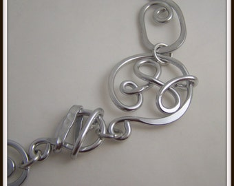 Free Form Geometric Necklace in Silver Aluminum Wire