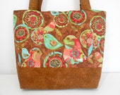 Large Tote Bohemian Birds Brown and Teal