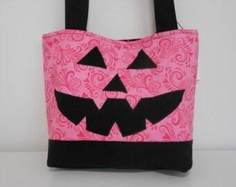 Pumpkin Tote Bag or Medium Purse,  Pink and Black Tote, Halloween Purse