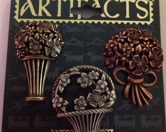 J.J. artifacts Flower baskets & Bouquets tack pins set of 3