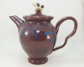 handmade large teapot red and blue with beagle
