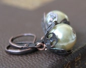 Simply Elegant Glass Pearl Earrings, Soft Green and Brass, Gifts for Her, Gift Giving
