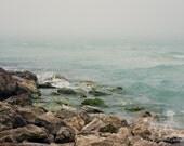 Fine Art Photograph, Beach Art, Home Decor, Ocean Photo, Rocks, Waves, Lido Beach, Fog, Zen, Gulf of Florida, Peaceful, Water, 8x12 Print
