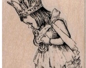 Rubber stamp girl  princess wand and crown  scrapbooking supplies number 19536 stamping craft supply