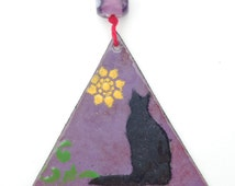 Ornament - Enamel on Copper - Black Cat Silhouette - Torch Enameled Triangle Christmas Ornament