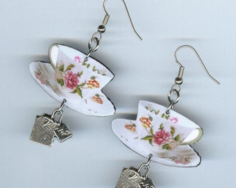 Tea Cup Earrings - vintage English Porcelain teacup - teabag charms - barista waitress tea lovers gift - jewelry designs by Annette