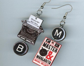 Book cover Earrings - The Master and Margarita quote - Typewriter key - literary gift jewelry - reader's gift