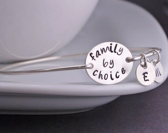 Family By Choice Bracelet, Adoption Bracelet, Silver Adoption Bangle Jewelry with Personalized Initials