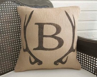 Deer Antler Monogram Pillow  - Burlap Pillow - Antler Decor - Burlap Monogram Pillow - Fall Decor - Personalized