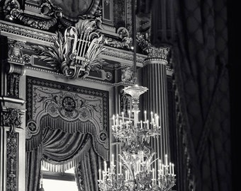 "Paris Photography, Black and White Photography, Paris Opera House Chandelier Print, Romantic Art, Paris Decor, ""Night at the Opera"""