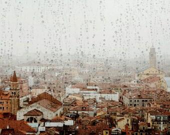 """Venice Skyline in Rain, Italy Photography, Venice Wall Decor, Large Print, Fine Art Photography, Italian Home Decor  """"Under the Rain"""""""