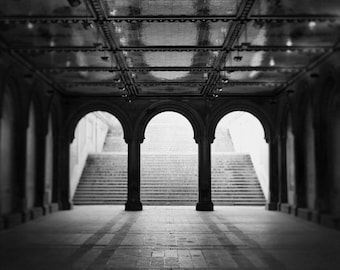 "NYC Photography, Black and White Photography, Black & White New York Print, Architecture Print, Central Park Bethesda Arch, ""Trilogy"""