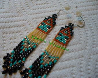 Little square stitched Kachina Style earrings in SouthWestern colors