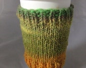 Handknit Yellow and Green Coffee Cozy -- Wool