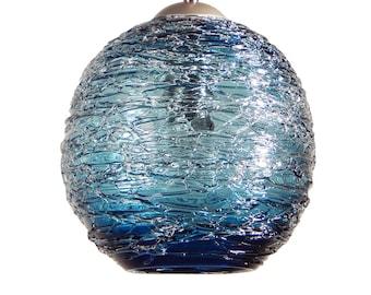 Steel Blue Hand Blown Glass Blue Pendant Light Ceiling Hanging Lights by Rebecca Zhukov