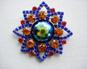 Beautiful and Big Vintage Rhinestone and Glass Cabbed Button
