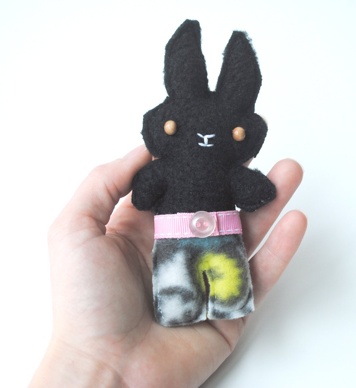 Small Toy Rabbits : Miniature plush bunny rabbit stuffed toy pin or by