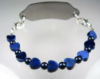Navy Blue Cat's Eye Heart Medical ID Bracelet-Small-Replacement-Gift