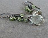 Peridot Earrings Green Amethyst Cluster Earrings Oxidized Sterling Silver Earrings Gift for Mom Gift for Her