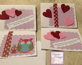 Handmade, Blank Notecards, Featuring Owls, Hearts and Scripture Set