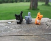 Tiny Needle Felted Miniature Kittens Set in Orange Black and Gray