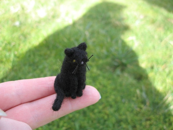 Needle Felted Miniature Black Cat Tiny Dollhouse Figure