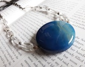 necklace with blue agate, clear quartz and silver filigree - gunmetal necklace with big blue pendant - beaded necklace - islamorada necklace