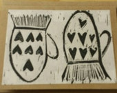 Black linoblock mittens -a greeting card by willowcat.studio