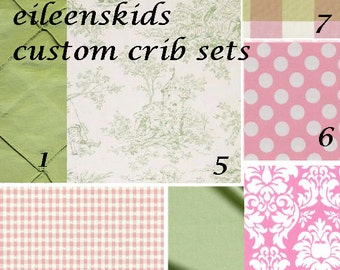 Luxury Crib Bedding Set Pinks and Sage Toile for Your Little Girl