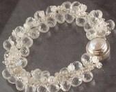 50% OFF - Rock Crystal Quartz Rainbow Moonstone Charm Style Wire Wrapped Bracelet