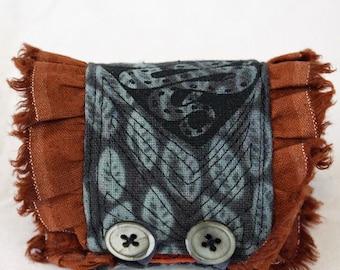 Fabric wrist cuff, coiled snake, screenprinted cuff, hand dyed cuff, textile art cuff, fiber artist,soft jewelry bracelet, rust, blue, brown
