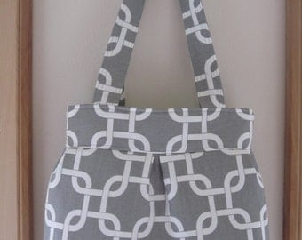 Canvas, Handbag, Purse, Ipad, Netbook, Tote, Shoulder bag ,Pleated bag, Made in USA Geometric in Gray and white