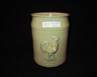vase with rooster in bone white, stoneware pottery