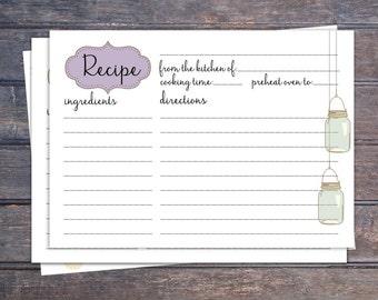 Mason jars Printable recipe card - Instant download  -   6x4