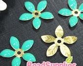 FG-EX-08001LG- Nickel Free, Lead Free, Color epoxy, 5-leaf beads cap,lake green, 6 pcs