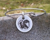 Stainless steel Pekingese bangle
